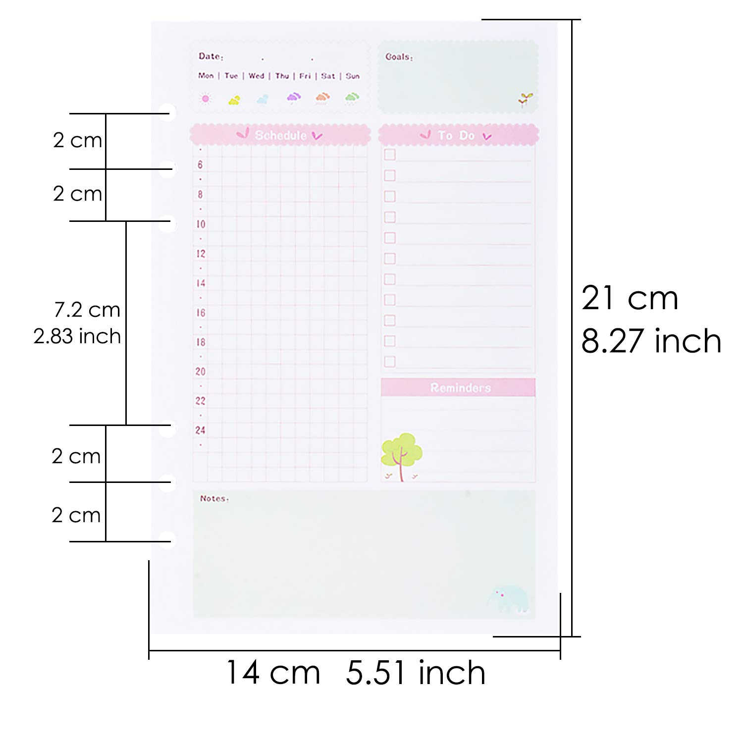 Cartone animato 90 pcs 6-Ring Journal Refills Lined Traveler Notebook Inserti in carta Allentata,21x14cm Larcenciel A5 Binder Refill Paper per Filofax