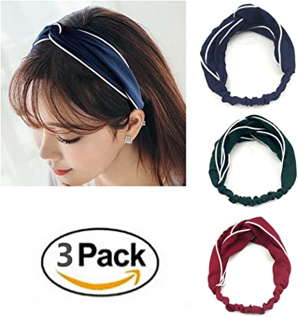 3 Pack mujer diademas elástica turbante Head Wrap rayas Hit Color ...