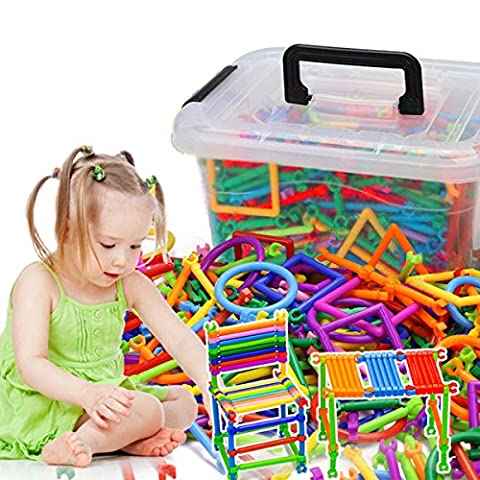 AGARE 500 PC Bars Different Shape Creative and Educational Building Building Block Toy - 3D Puzzle With a Plastic Storage Box