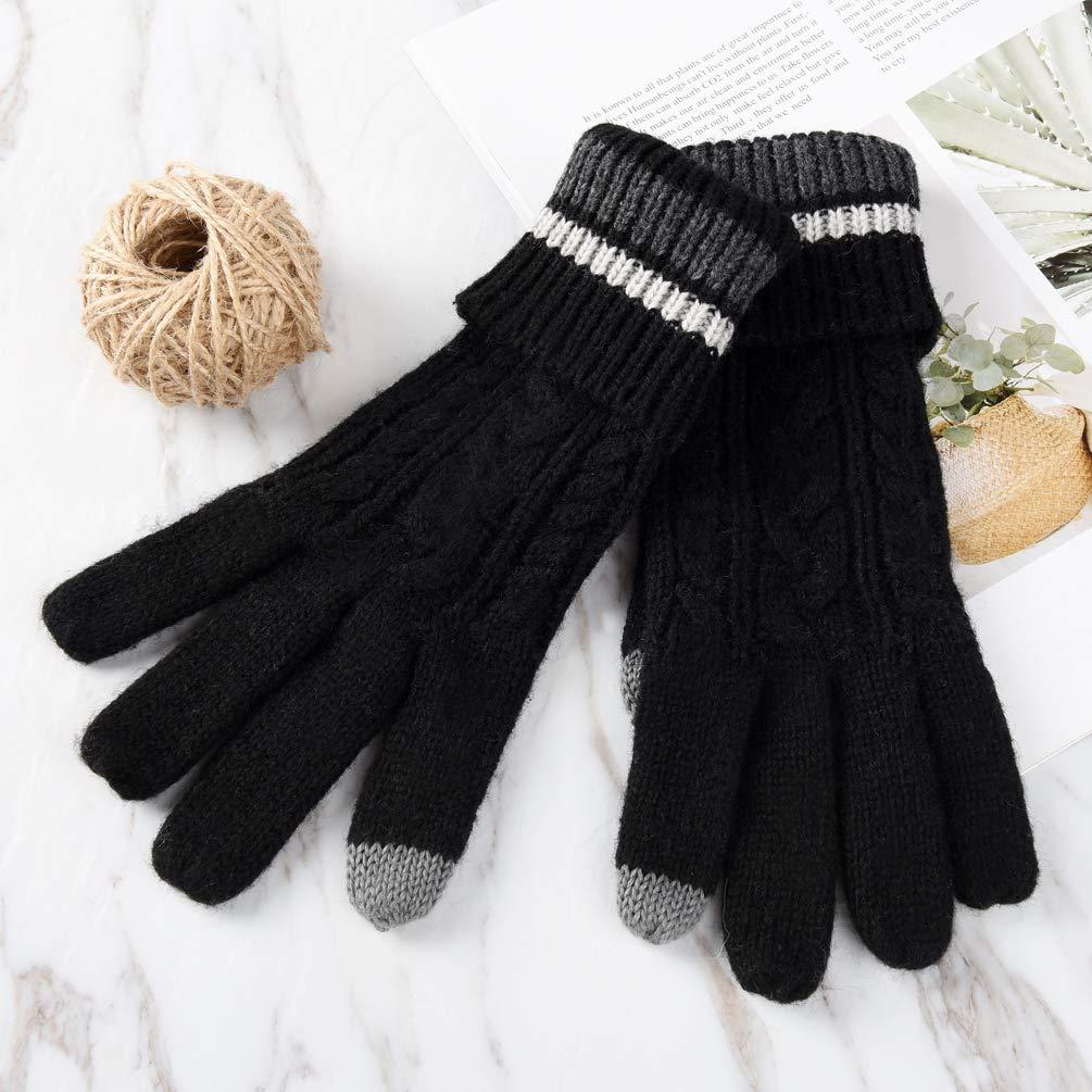 Vbiger Damen Winter Handschuhe Stilvolle Strickhandschuhe Kreative Touchscreen Handschuhe Warme Wollhandschuhe mit Verstellbare Manschette