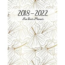2018 - 2022 Five Year Planner: Monthly Schedule Organizer, Gold Flower, Calendar June 2018 - December 2022, Academic Monthly & Yearly Agenda
