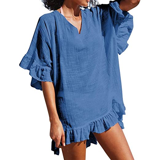 60aaa1b4 Casual Dresses for Women Loose V Neck Ruffle Half Sleeve Flounce Hem Solid  Summer Mini Dress. Roll over image to zoom in