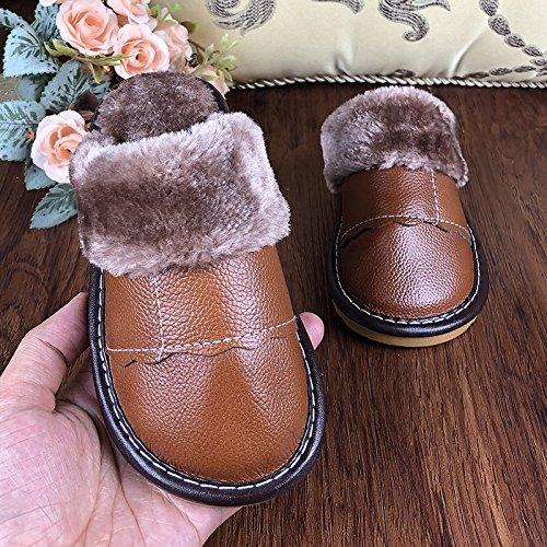 Les enfants chaussons de coton chaud Hiver Belle femelle antidérapant moyen grands et petits enfants Home intérieur de cuir chaussures de coton dans la Chambre des hommes, 18, (22–24), rouge