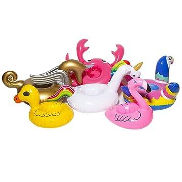 DMAR 6 Piezas Mini Titular de Bebida Inflable Flamingo Unicorn Pool Flotador Juguetes Portavasos Flotador Natación