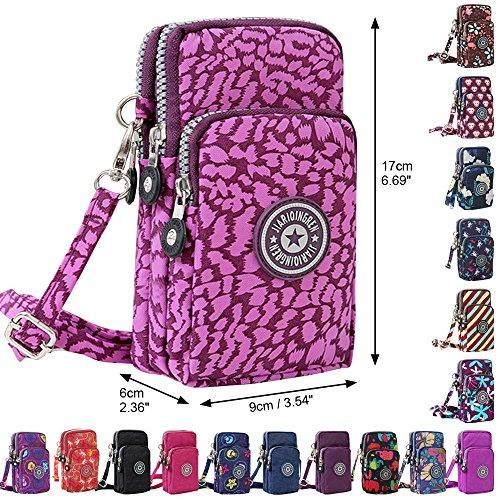 Wristlet Mini Multifunction Purple Bag Purse Leopard Phone New Wocharm Crossbody Handbags Cell Fwqx8OWTZ