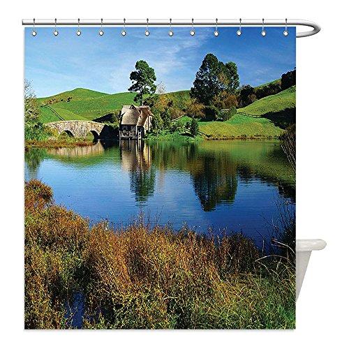 Vintage Costume Jewellery New Zealand (Liguo88 Custom Waterproof Bathroom Shower Curtain Polyester Hobbits Hobbit Land Village House by the Lake with Stone Bridge Farmhouse Cottage New Zealand Decor Green Blue Decorative bathroom)