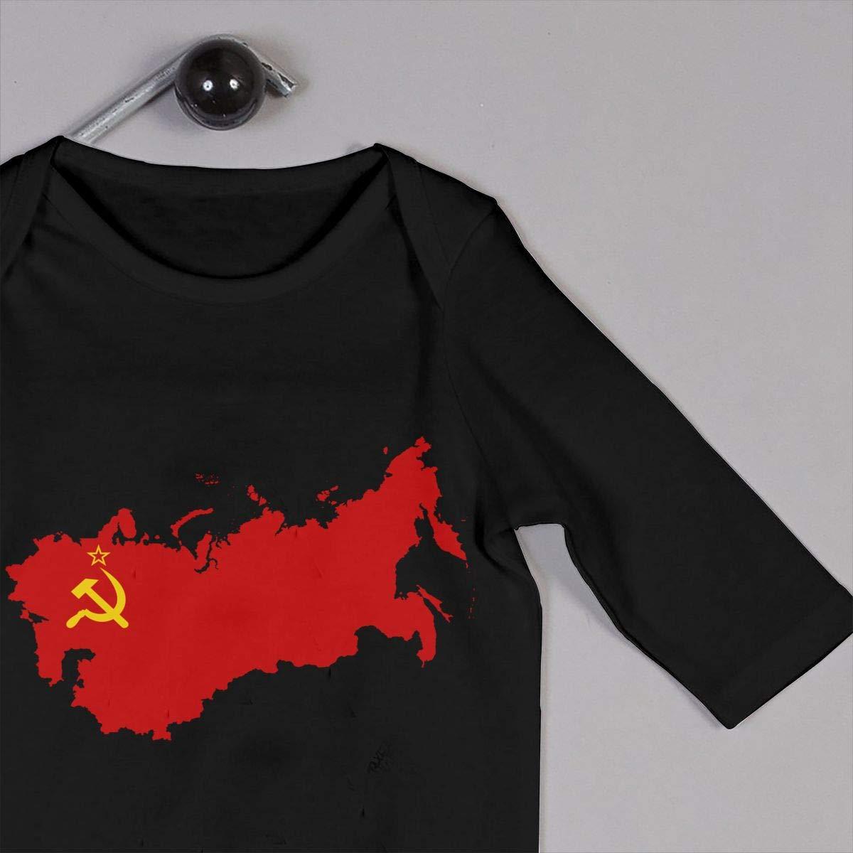 Mri-le1 Newborn Baby Long Sleeve Jumpsuit Soviet Union Flag Map Kid Pajamas