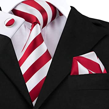 WOXHY Corbata de los Hombres Conjunto de Corbatas de Rayas Rojas y ...