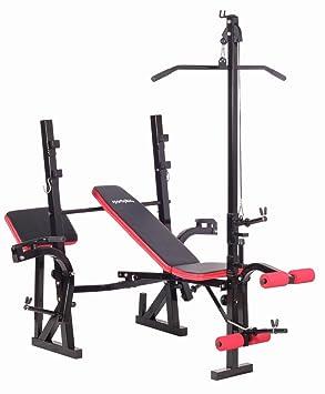 SportPlus SP-WB-005-B Banco de Musculación Plegable, 2 Soportes para