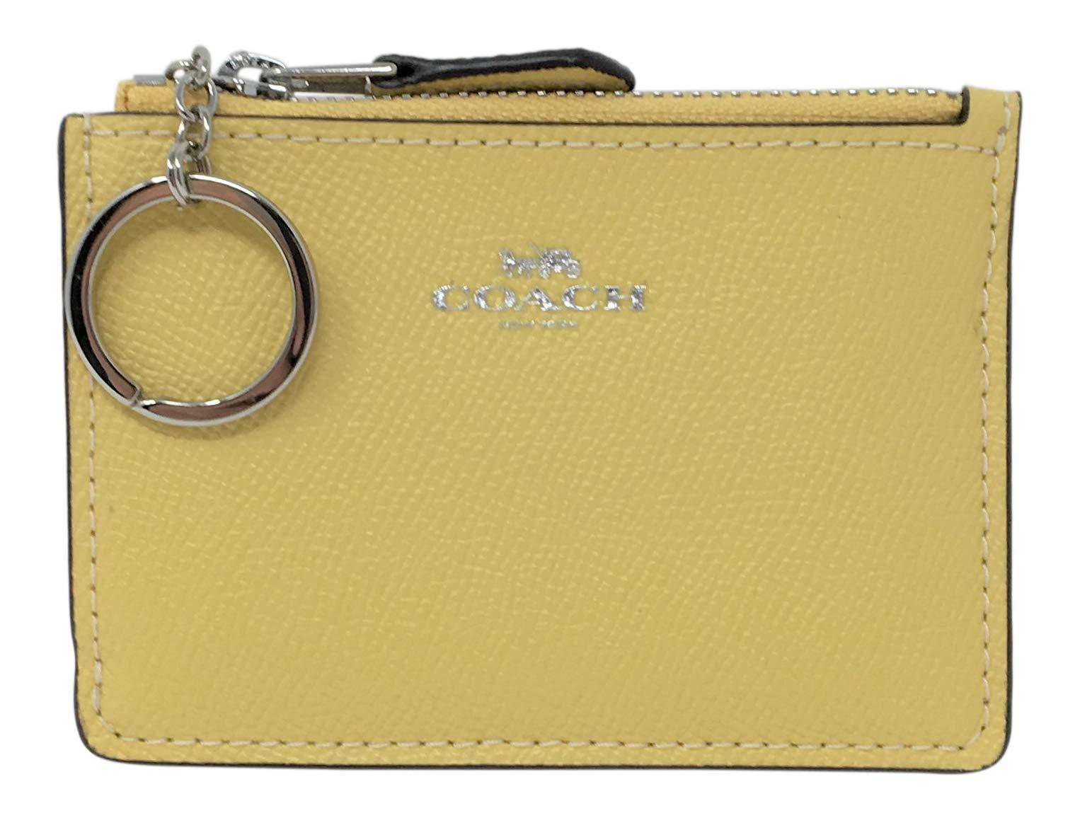 Coach F12186 Mini Skinny ID Case In Crossgrain Leather Light Yellow