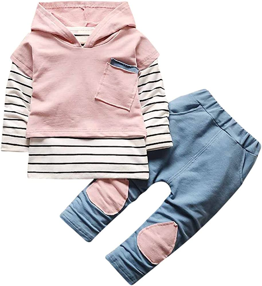 Baby Boys Girls 2Pcs Clothing Set Stripe Hoodie Tops+Patch Pants Outfits Long Sleeve Cool Hooded T-Shirt Autumn Trousers Leggings for 3-7 Years Old Toddler Kids