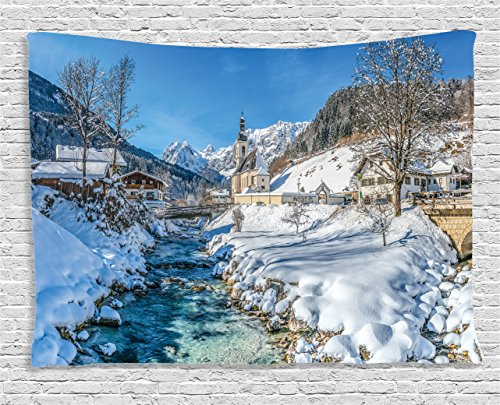 Ambesonne Farm House Decor Tapestry by, Winter Bavarian Alps High Ice Creek Forest Salzburg Austrian Retro Print, Wall Hanging for Bedroom Living Room Dorm, 80WX60L Inches, Blue White ()