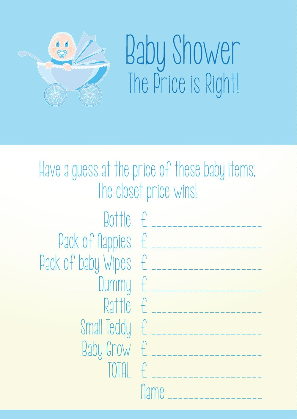 Baby Shower Game Cards U0027the Price Is Rightu0027 Prediction Cards   Boy:  Amazon.co.uk: Baby