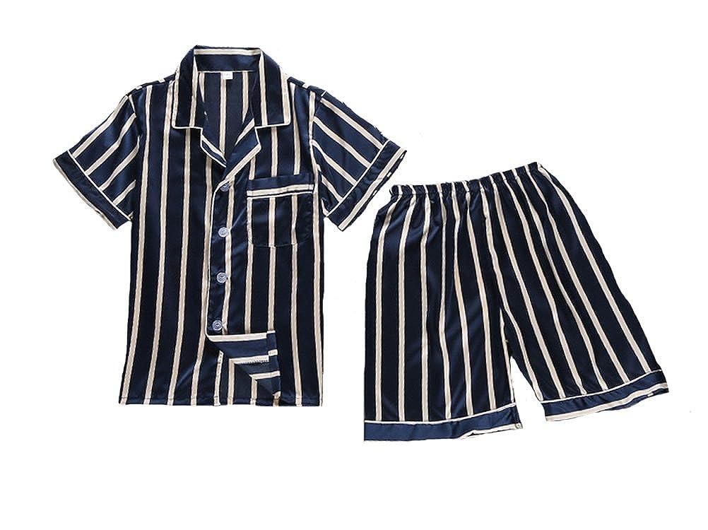 Wongstore Kids Satin Classic Stripe Short Sleeve Top and Pants Pajama Set
