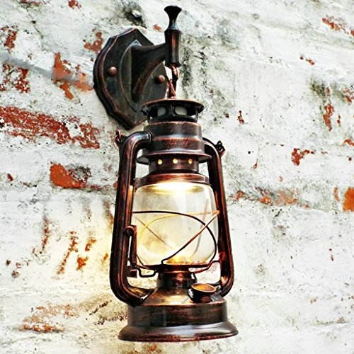 Vintage Iron Barn Lantern Kerosene Wall Lamp Red Copper Color Wall Sconce FGH002 (Kerosene Lamps For Indoors compare prices)