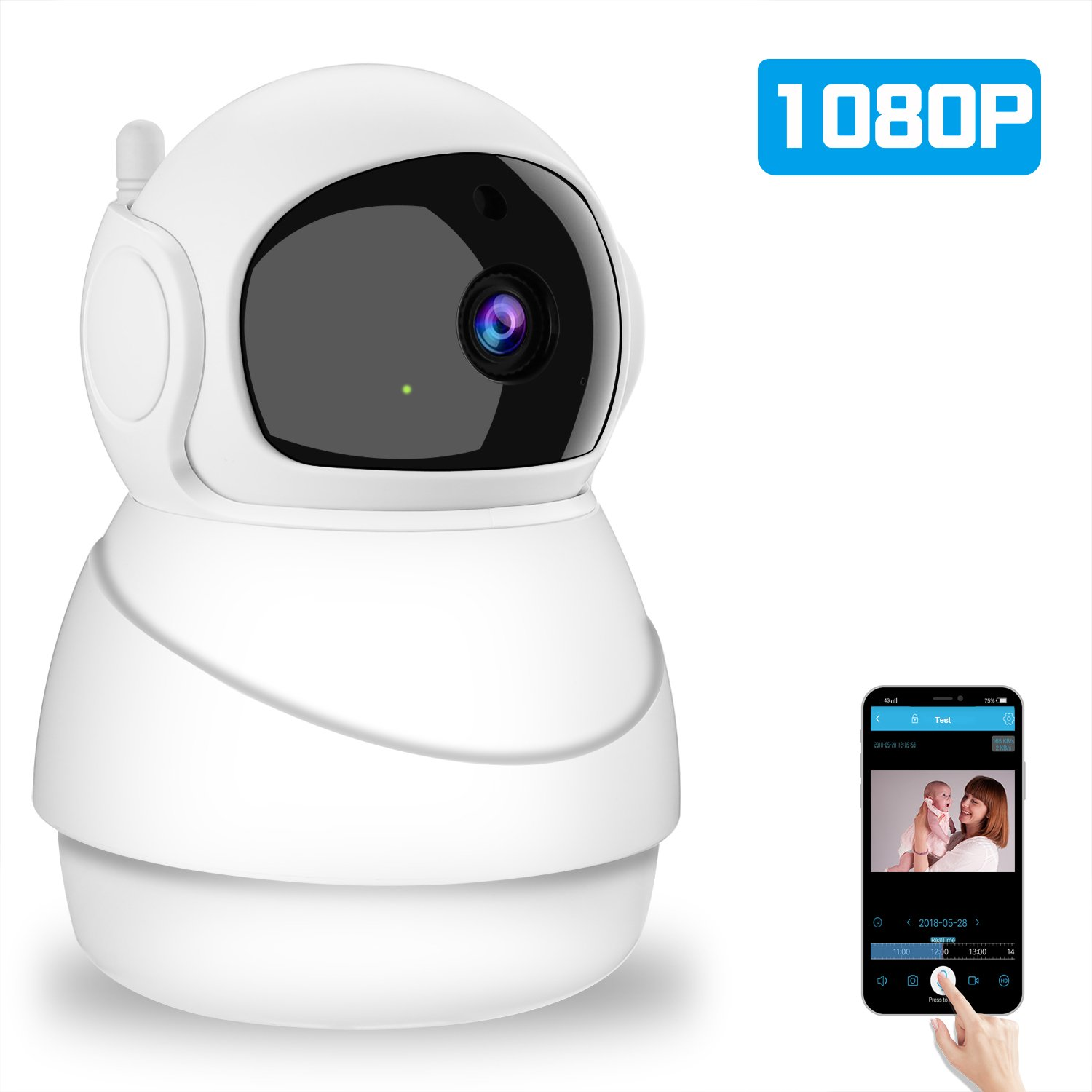 Oxyland Wireless Camera 1080P for Home Security Indoor WiFi Camera with 2 Way Audio Night Vision Motion Detection and Zoom/Pan/Tilt Surveillance Camera for Pet/Baby/Elder Monitor