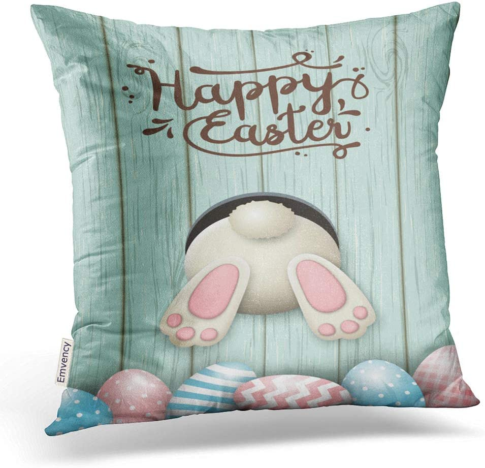 Emvency Throw Pillow Covers Easter Motive White Bunny Bottom Easter Pink Blue Eggs Fresh Decor Pillowcases Polyester 18 X 18 Inch Square Hidden Zipper Home Cushion Decorative Pillowcase