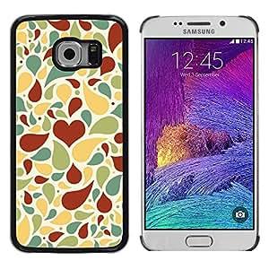 TopCaseStore / la caja del caucho duro de la cubierta de protección de la piel - Love Heart Pattern - Samsung Galaxy S6 EDGE SM-G925