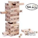 木製数字ジェンガ【54ブロック+4サイコロ】知育玩具 大人も子供も楽しめる 遊び感覚で数字に強くなる