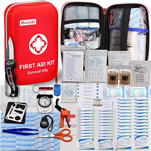 Adventure Medical Kits Gear - 174 Pcs First Aid Kit Survival Kit, Monoki Emergency Survival Kit Gear Medical Supplies Trauma Bag Safety First Aid Kit for Home, Office, School, Car, Boat, Travel, Camping, Hiking, Sports, Adventures