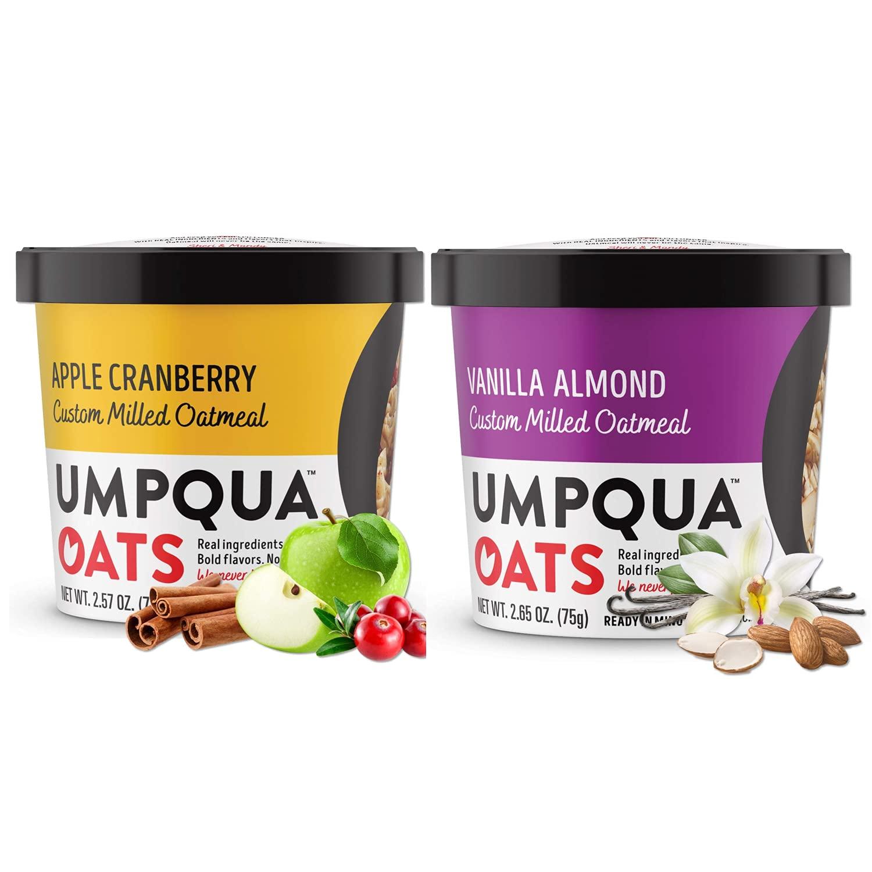 Umpqua Oats - Combo - All Natural, Premium Oatmeal Cups - No Mush, Custom Milled (Apple Cranberry, Vanilla Almond) 16 cups