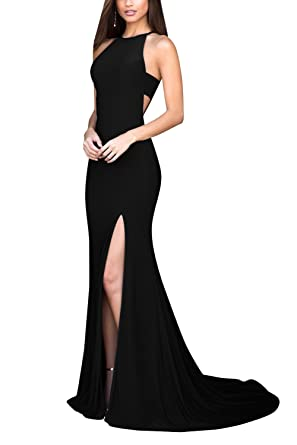 Halter Prom Dresses Long Slit Off-The-Shoulder Mermaid Formal Evening Gowns Black Size