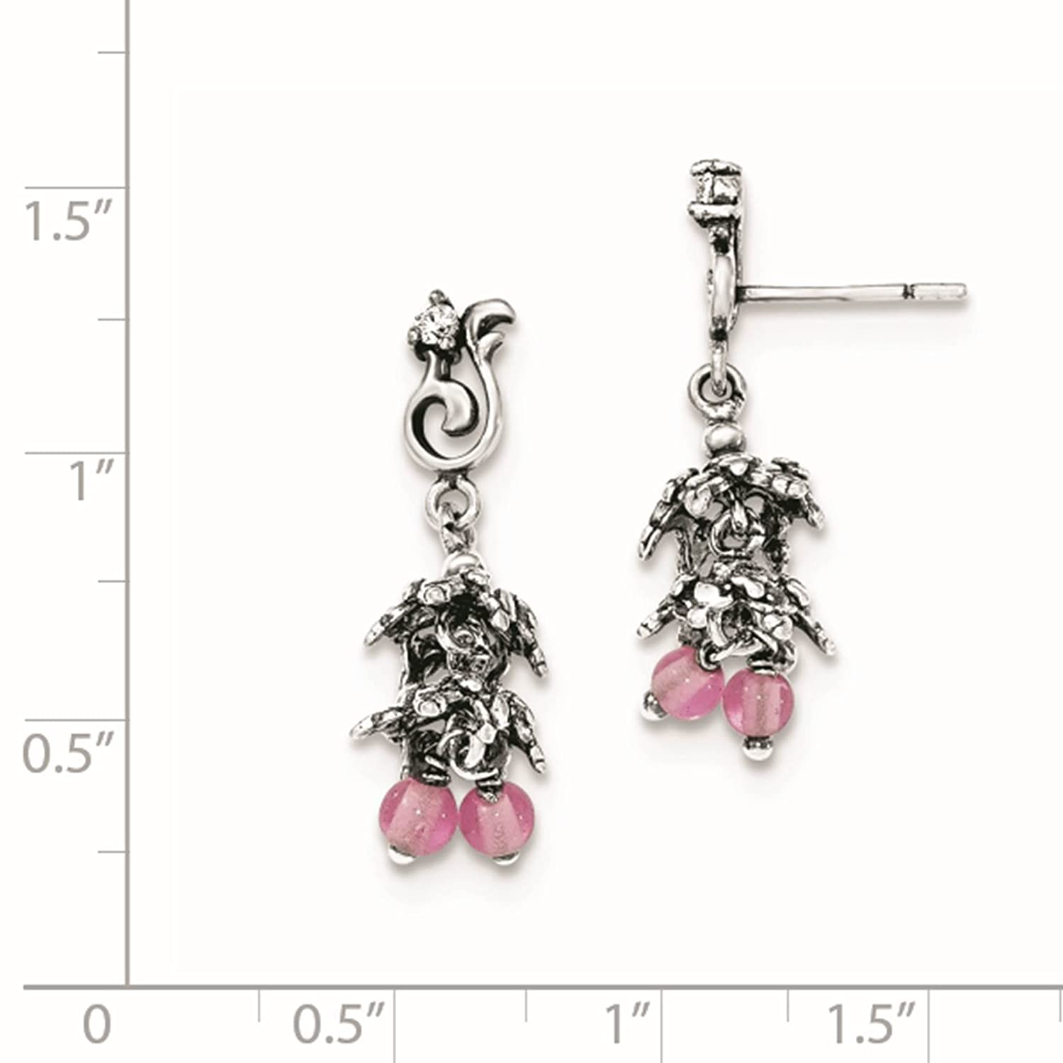 925 Sterling Silver Antiqued CZ /& Glass Beads Dangle Post Earrings