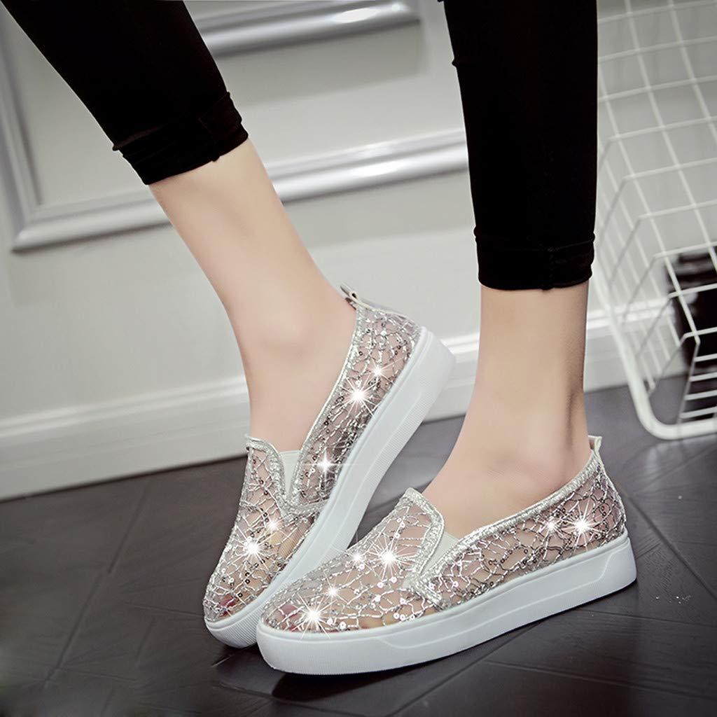 AIni Chaussures Plates en Dentelle pour Femmes Sanda pour Femmes Chaussures Simple Ple Respirant Paresseux-Respirante Chaussures