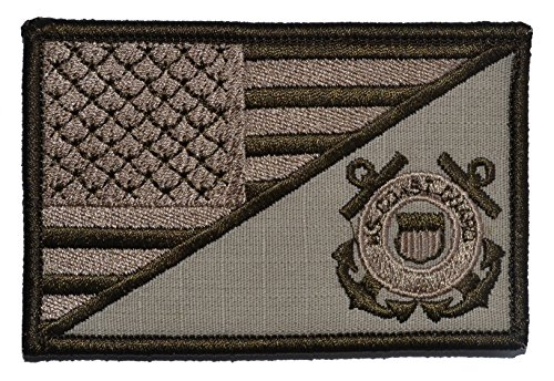 USA Flag / U.S. Coast Guard Seal 2.25x3.5 Military Patch / Morale Patch - Multiple Color Options (Desert Tan)