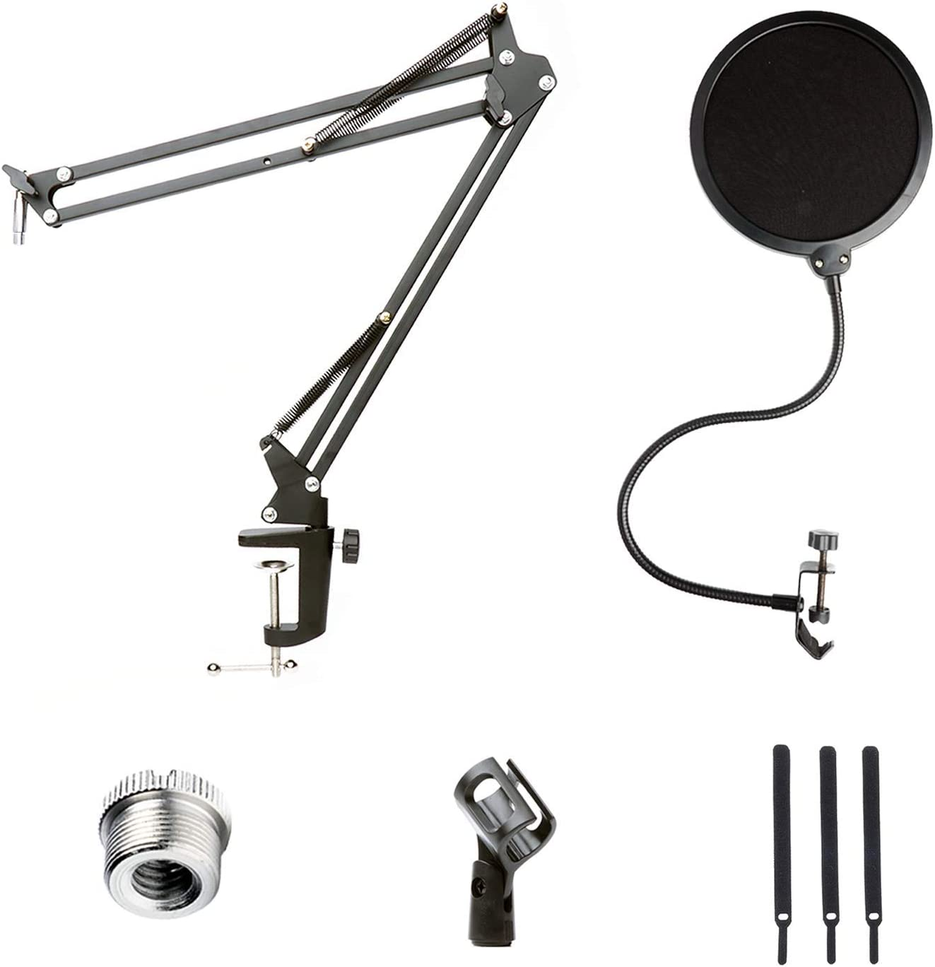 "Movo Podcast Accessories Kit with 26"" Suspension Scissor Arm Desk Mount Microphone Stand with Mic Clip and Dual Layer Nylon Mesh Gooseneck Pop Filter. Accessory Pack for YouTube, Gaming, Streaming"