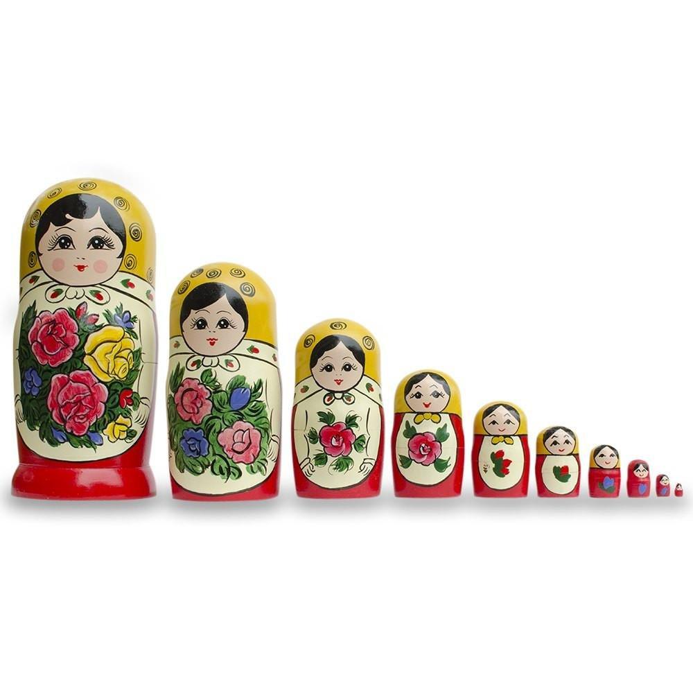 BestPysanky Set of 10 Large Semenov Traditional Matryoshka Russian Nesting Dolls 10.25 Inches