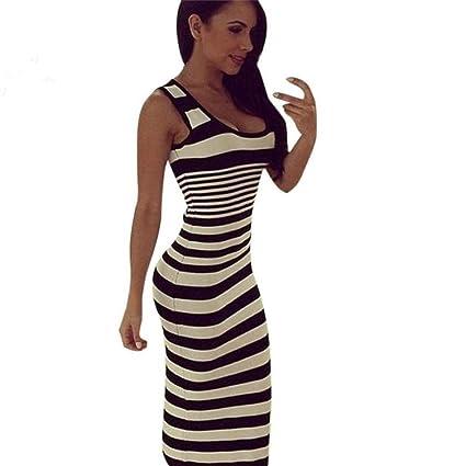 b08195fc10c Amazon.com  Women Long Dress Daoroka Ladies Striped Loose Casual Maxi Skirt  Long Sleeve Beach Ankle-Length Party Sundress (XL