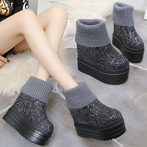 aca564b27ffbe5 SDKIR-Korean winter boots shoes with thick soles muffin bottom sequined  cashmere slope with the