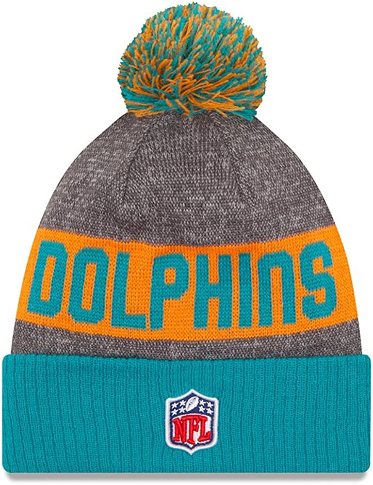 New Era Miami Dolphins 2016 NFL Sideline On Field Sport Knit Hat Aqua Cuff