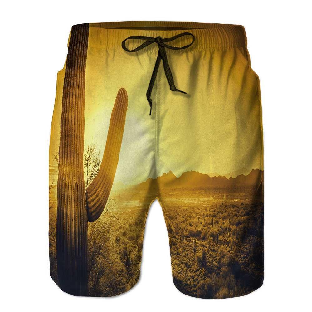 Nalahome Men's Swim Trunks, Floral Seamless Pattern Quick Dry Board Shorts STK-3451F
