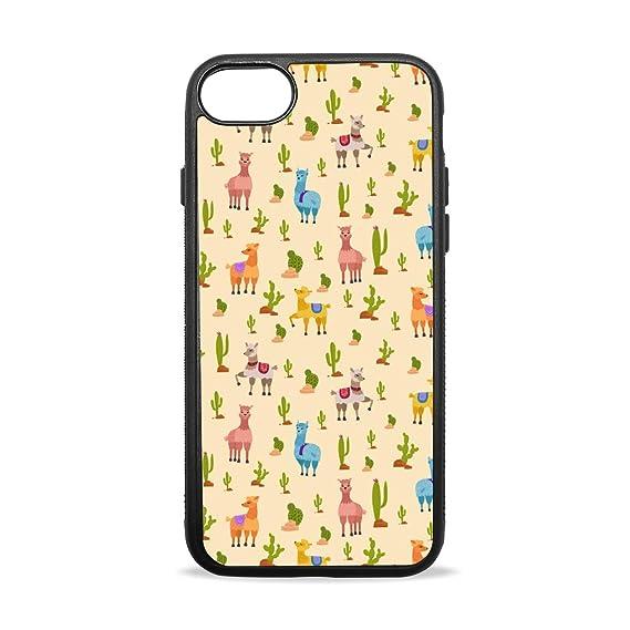 meet 12759 2ebb4 Amazon.com: Case for Apple Cactus Cute Lama Light Yellow iPhone 7/8 ...