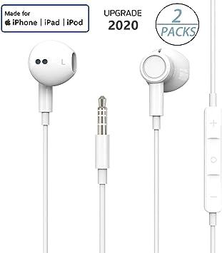 2 Pack】 Auriculares para iPhone Auriculares internos Versión actualizada Auriculares de 3.5 mm Micrófono Incorporado y Control de Volumen Compatible para iPhone, iPad, Android, etc.-Blanco: Amazon.es: Electrónica