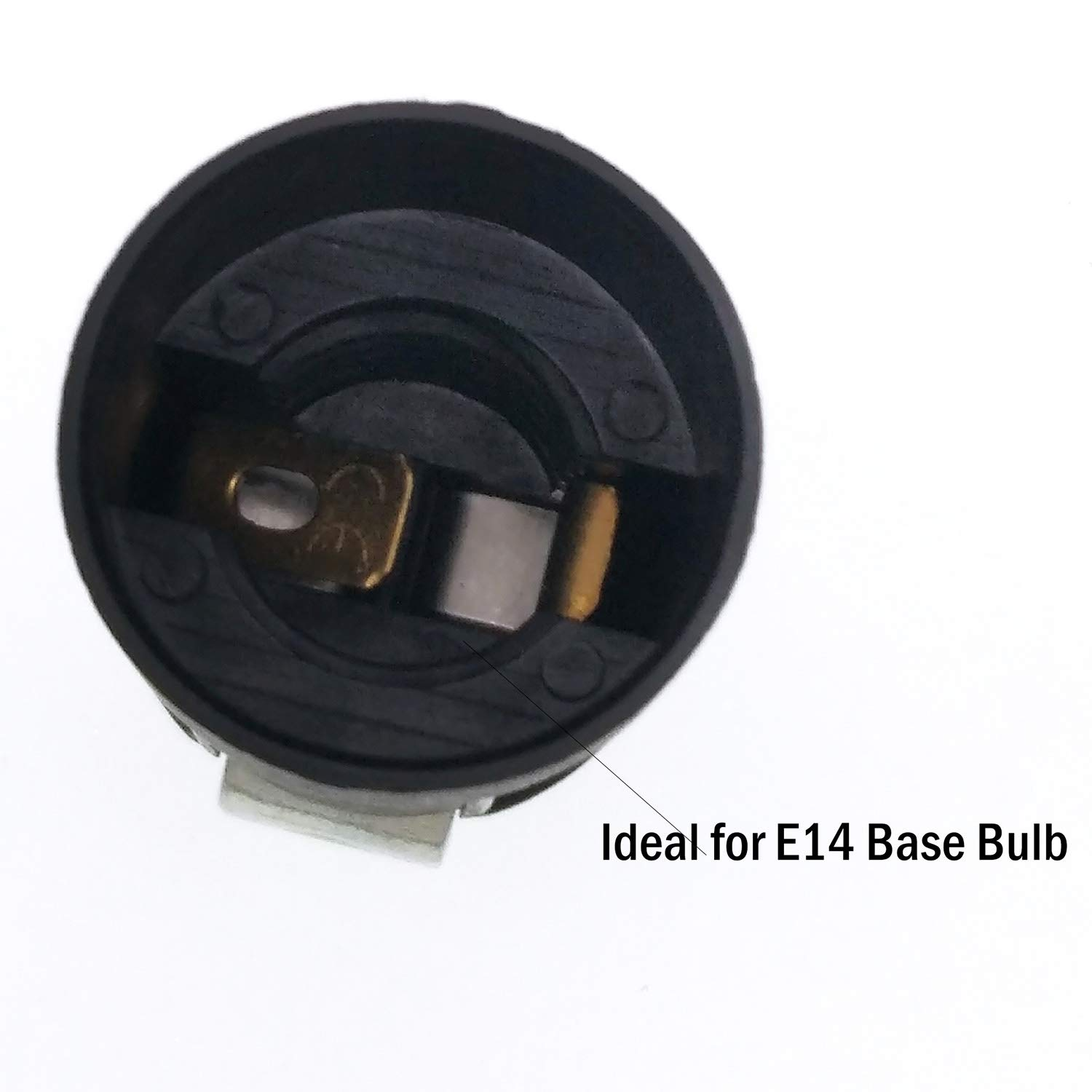 Black E14 Thermoplastic Candle Lamp Holder,6 Pack of SES 52mm Height Wall Lamp Pendant E14 Lamp Socket with 1//8IPS Threaded Hickey