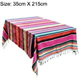 Urnanal Ethnic Style Tablecloth, Rainbow-Colored Tablecover Beach Blanket, Hand-Knitted Cotton Home Tapestry Picnic Mat Shawl Blankets Beach Towels and Outdoor Blankets
