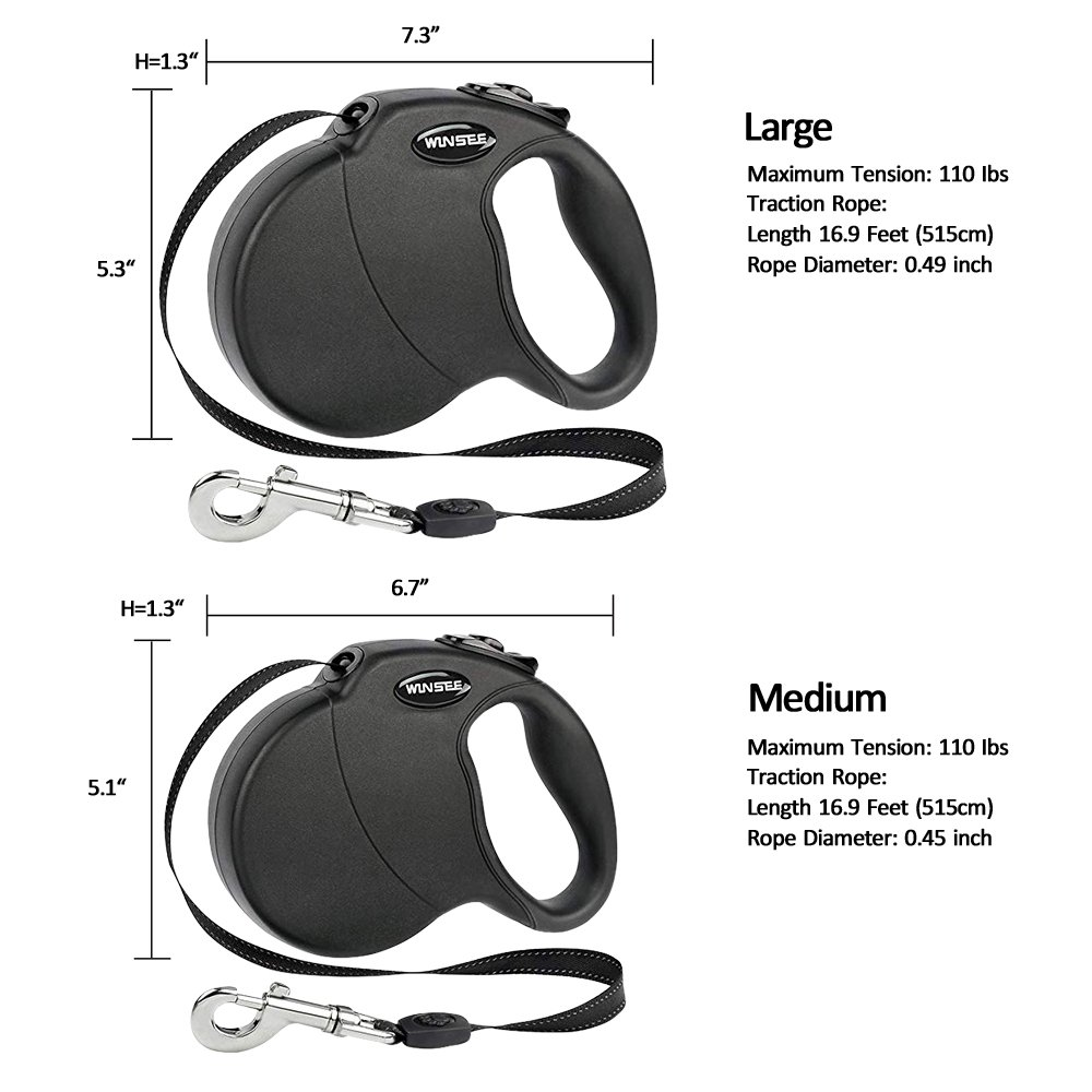 WINSEE Retractable Dog Leash 5M Extendable Leads for Small Medium Dogs One Button Lock with Reflective Belt Black