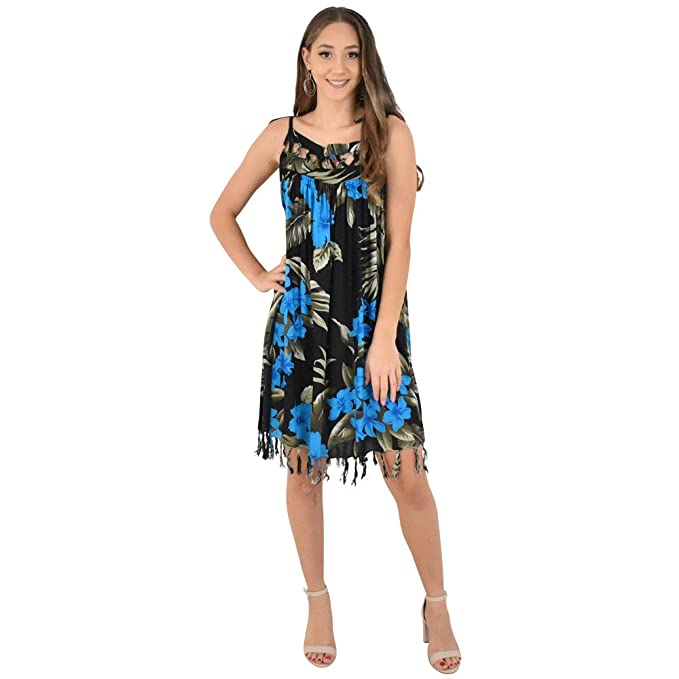 8d7e83ce2b ISLAND STYLE CLOTHING Black   Blue Floral Leaf Ladies Beach Lattice Dress  Casual