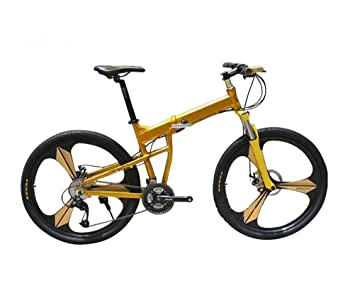 MASLEID 26 pulgadas × bicicleta de montaña plegable de 27 pulgadas , gold