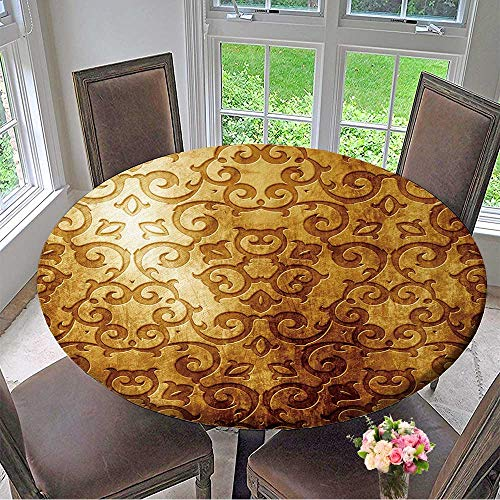 - Mikihome Picnic Circle Table Cloths Gold Metal Plate with Classic Ornament (Vintage Collection) for Family Dinners or Gatherings 55