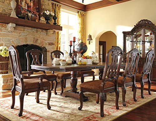 Double Pedestal Dining Set - NorthShore Brown Finish Double Pedestals And Leafs Formal Dining Set, Rectangle Table, 6 Side Chair, 2 Arm Chair