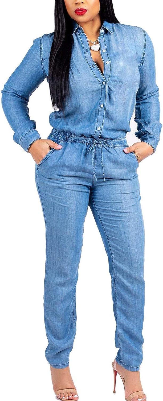 Gocgt Women Denim Jumpsuits Slim Fit Long-Sleeved Button Up Jean Rompers