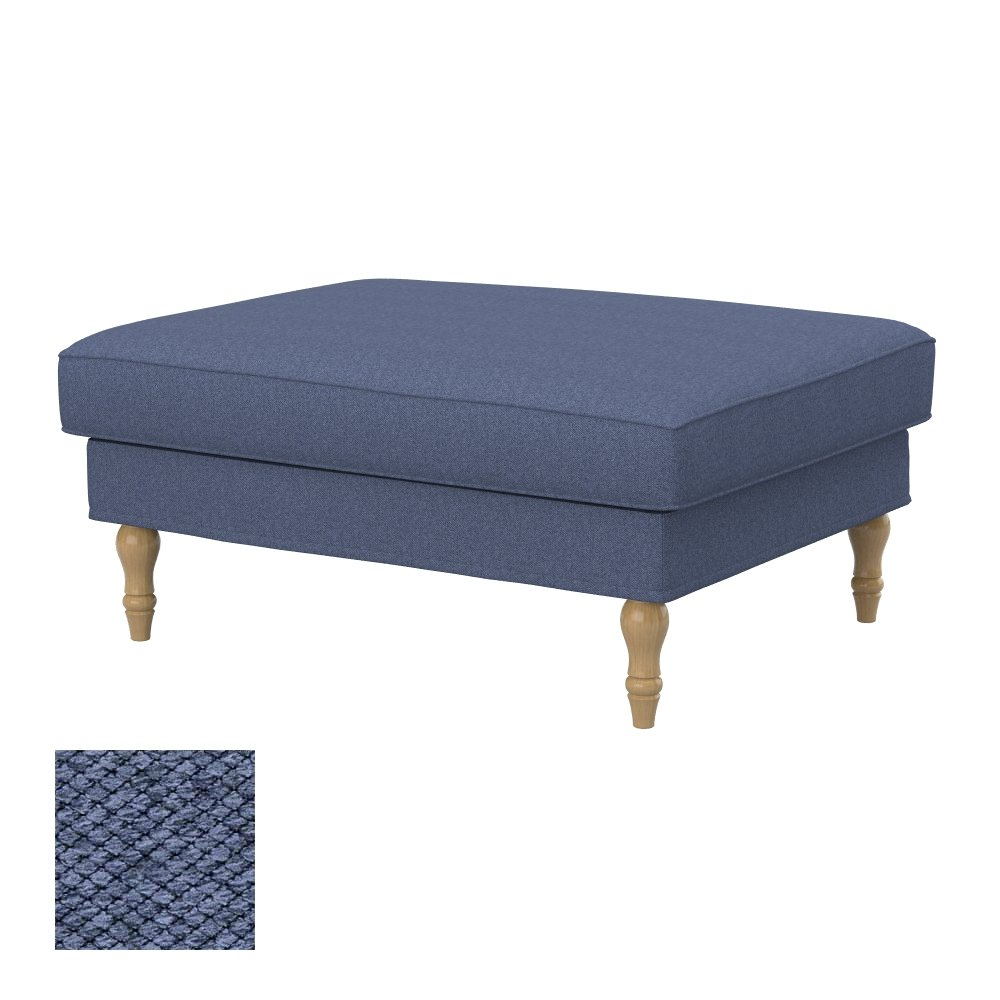 Soferia - IKEA STOCKSUND footstool cover, Nordic Denim