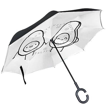 ALAZA Funny Cartoon Huevo Aguacate Blanco Paraguas invertido Doble Capa Resistente al Viento Reverse Paraguas