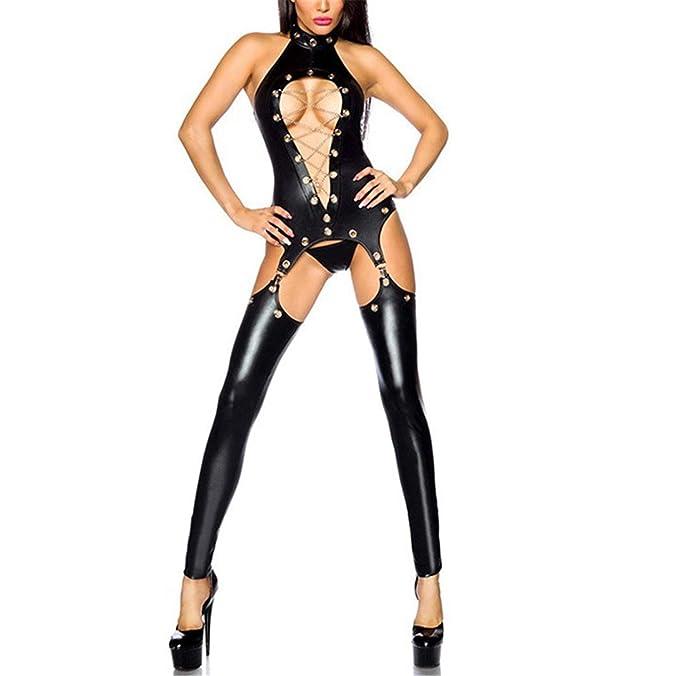 Amazon.com: Sexy Lady - Traje de piel sintética de látex ...