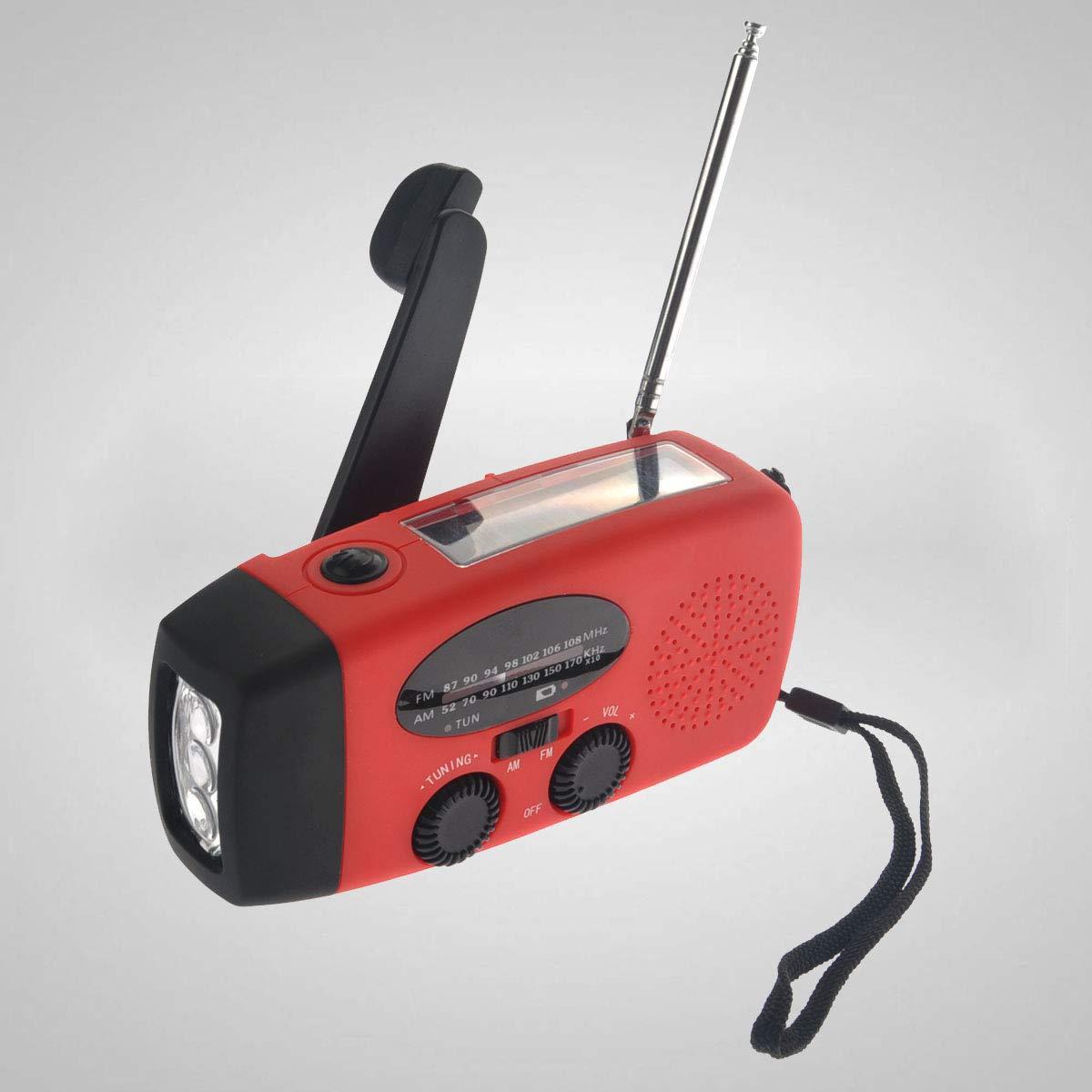 VOSAREA Emergency Solar Crank AM FM Camp Radio with LED Flashlight USB Output Port(Red) by VOSAREA (Image #3)