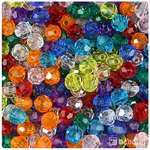 (BeadTin Mixed Transparent 8mm Faceted Round Craft Beads (450pc))